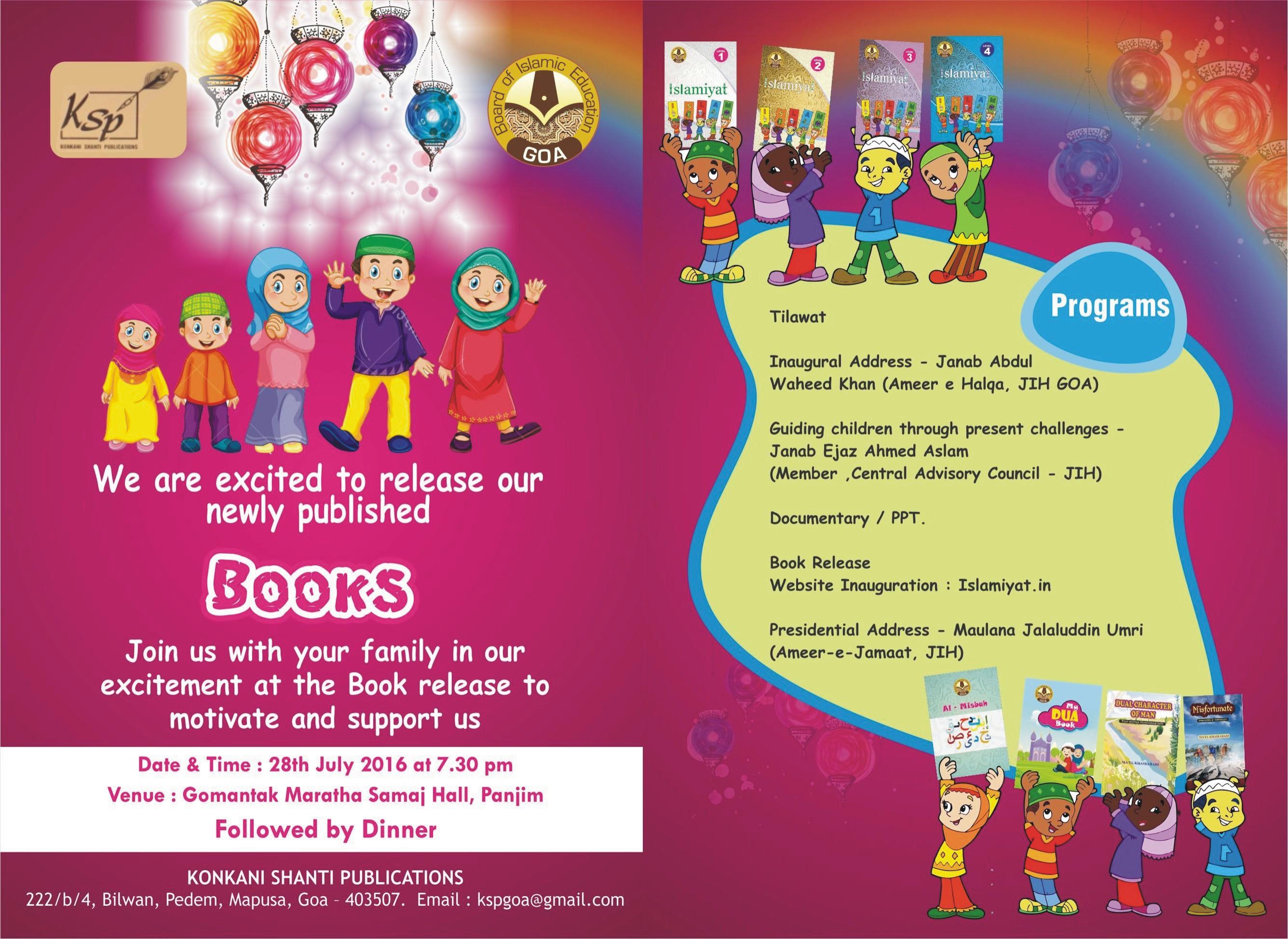 Invitation to Book release Ceremony